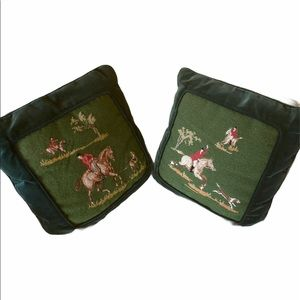 Pair of vintage needlepoint pillow covers